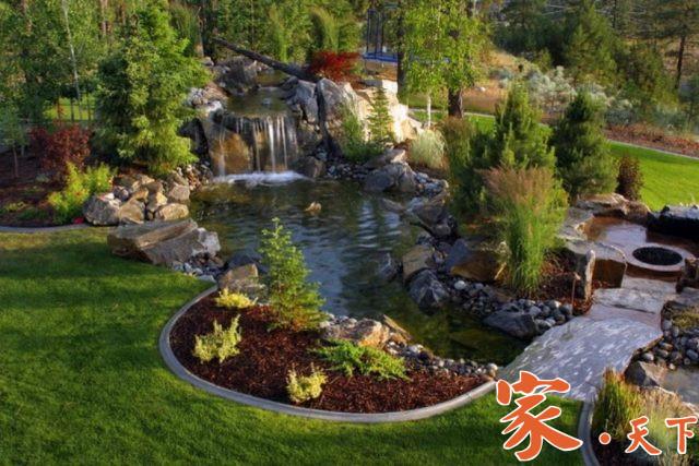 人工瀑布,人造景观,假山施工,后院瀑布,后院鱼池,家庭花园,庭院装修,庭院设计,景观规划,院落景观